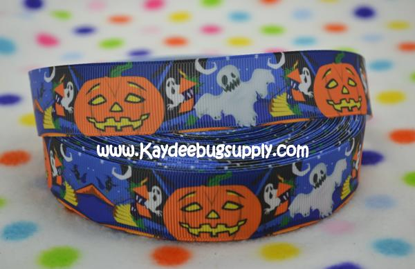 Pumpkins Ghosts - BLUE - 1 inch-happy, halloween, ghost, ghosts, jack, jack o lantern, lantern, goblins, witch, witches,