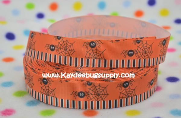 Spiders & Web on Orange Stripe Bottom - 1 inch-holiday, halloween, spider, web, spiderweb, spiderman, orange, stripe