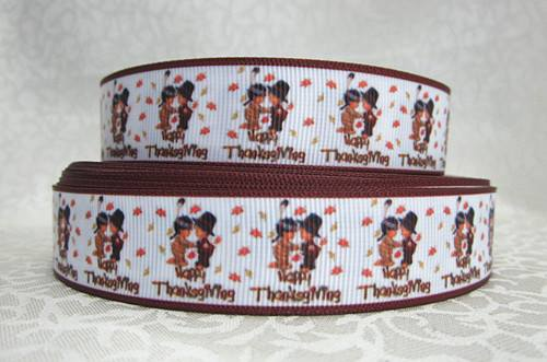 Happy Thanksgiving - Little Pilgrim & Indian - 7/8 inch-happy, thanks, thanksgiving, pilgrim, indian, ribbon, brown, holiday, holidays,