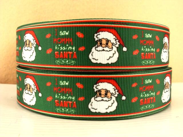 I Saw Mommy Kissing Santa - 1 inch-christmas, xmas, holiday, santa, claus, st nick, nick, snow, winter, ribbon