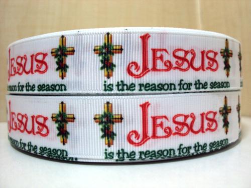 Jesus Is The Reason For The Season - 7/8 inch-christmas, xmas, holiday, santa, claus, st nick, nick, snow, winter, ribbon, stripe, stripes, red, jesus, reason, season