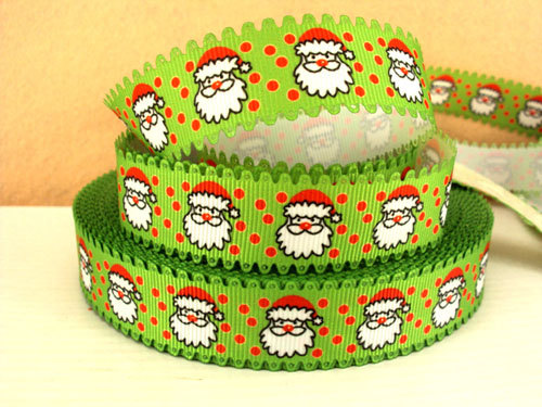 Santa Claus - Green - WAVE - 7/8 inch-christmas, xmas, holiday, santa, claus, st nick, nick, snow, winter, ribbon, wave, green, polka, dot, dots, red