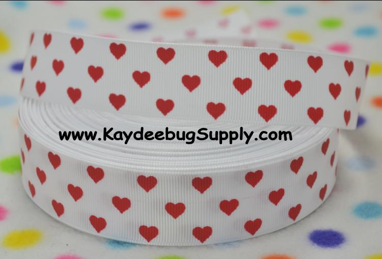 Hearts RED on White - 1 inch-love, heart, hearts, white, red, solid, dots, valentine, valentines, day, holiday