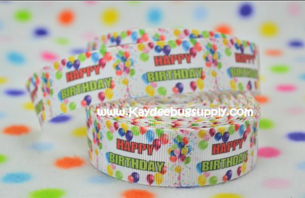 Happy Birthday - Balloons - WHITE - 1 inch-happy, birthday, bday, balloon, balloons, celebrate, NYE, years,