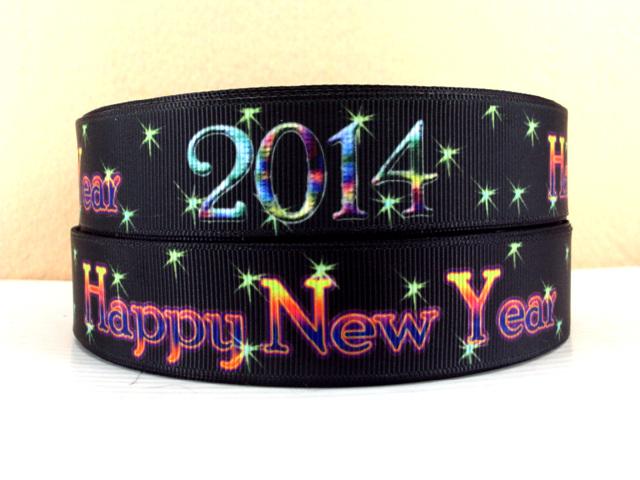 Happy New Year 2014 - BLACK - 1 inch-happy, new, year, 2014, celebrate, NYE, years,