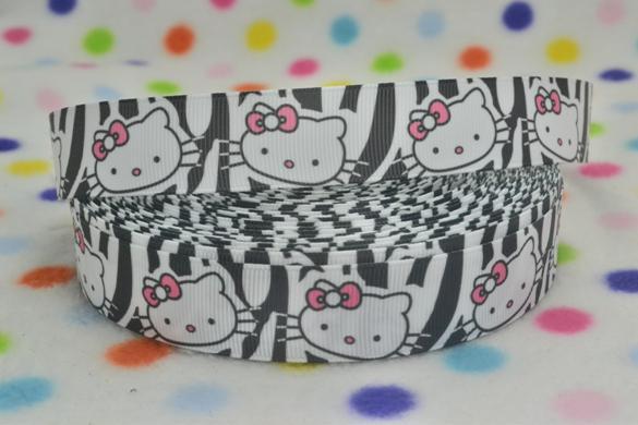 Kitty Black White Zebra Print - 7/8 inch-, kitty, hello kitty, , black, white, animal, print, animal print, zebra, print, zebra print