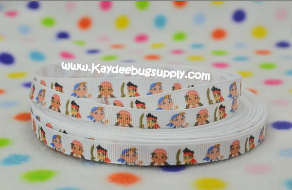 Jake and the Neverland Pirates - White - 3/8 inch-jake, pirate, pirates, nickelodeon, neverland, disney, map, boys, ribbon, skully, izzy, pirate princess, princess