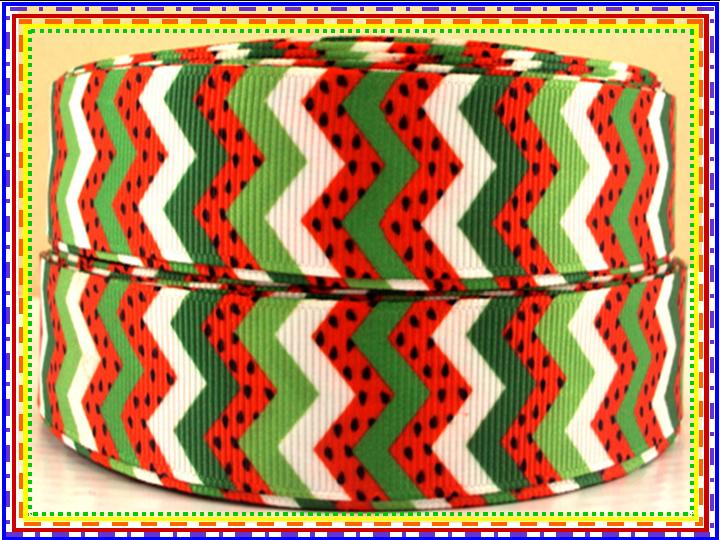 Chevron Watermelon Print - Red, Green, White (22mm)-chevron, watermelon, summer, time, summertime, spring, red, green, white, zigzag, zig, zag, seeds