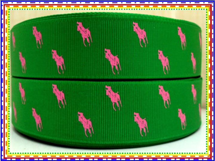Designer - Polo Horse - Pink On Green - 7/8 inch-RL, ralph, lauren, polo, polos, horse, horses, designer, preppy, nautical, prep, equestrian, water, pink, green, AKA, pretty, girl, white,