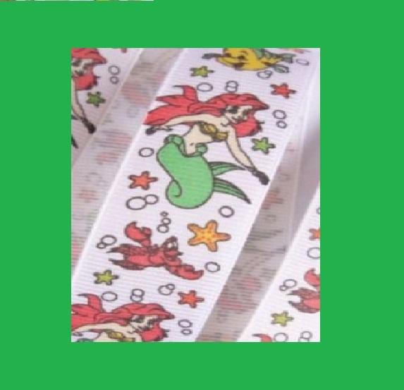 Little Mermaid - WHITE - 7/8 inch-little, mermaid, disney, ariel, princess, fish, princesses, fish, water,