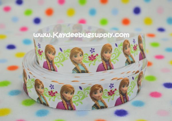 Frozen - Anna and Elsa Snow Queen - WHITE Scroll/Swirl - 1 inch-winter, frozen, movie, Anna,  Elsa, Snow Queen, disney, movie, white, scroll, scrolls