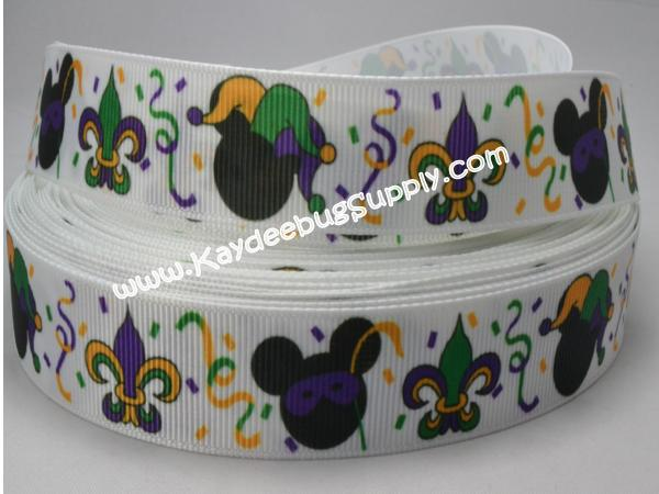 Mardi Gras - Minnie Mouse - 7/8 inch-mardi, gras, krewe, purple, green, yellow, festival, holiday, glitter, stripes, minnie, mouse