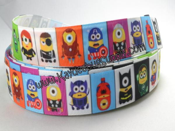 Minion Superheroes - 7/8 inch-super, hero, superhero, squad, spider, web, man, spiderman, super, hero, superhero, boys , ribbon, marvel, modern, bat, batman, Iron Man, Iceman, MODOK, Sif, Mister Fantastic, Chthon, Stranger, Valkyrie, spiderman, hulk, incredible, avengers, minion, minions, monster, one, eye, eyed, monsters
