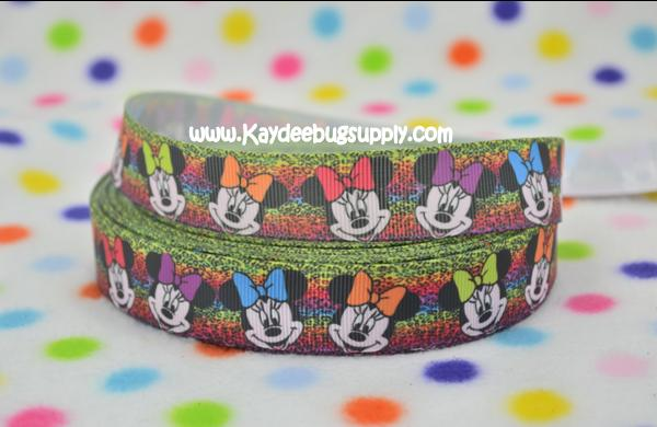 Minnie Mouse - Multicolor Cheetah Print - 7/8 inch-disney, minnie, mouse, multi, color, colored, cilticolor, multicolored, multicolor, cheetah, rainbow, animal, print, leopard,