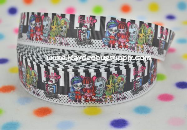 Monster High Babies  - 1 inch-printed, grosgrain, ribbon, 25mm, monster, high, scaris, school, zombie, skull, skulls, turquoise, black, toddler, babies,