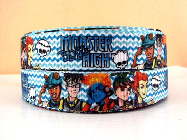 Monster High Boys Blue Chevron - 7/8 Inch-monster, high, scaris, boys, high, school, zombie, skull, skulls, blue, chevron