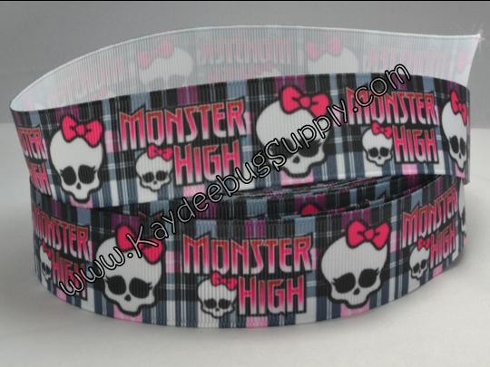 Monster High Skulls - Plaid - 7/8 inch-monster, high, scaris, school, zombie, skull, skulls, turquoise, black, plaid,