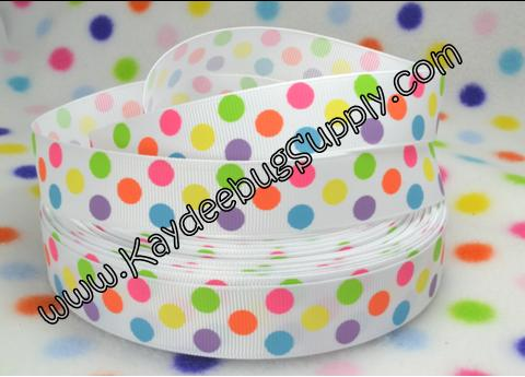 DOTS - Neon Rainbow Multicolor - WHITE - 7/8 inch-rainbow, multicolor, dots, dot, skittles, neon