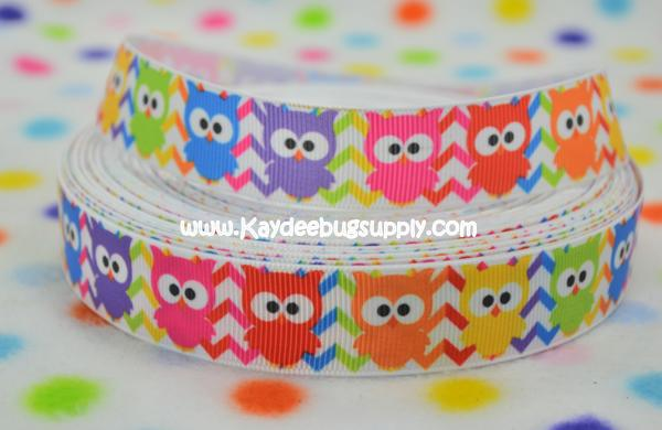 Owls - Multicolor Chevron - 7/8 inch-owl, owls, multi, color, multicolor, chevron, rainbow,