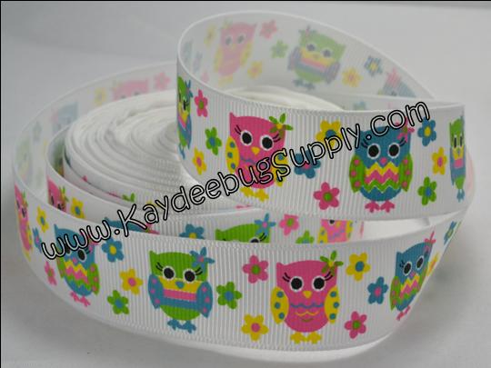 Owls - Neon on White - 7/8 inch-owl, owls, multi, color, multicolor, neon, rainbow,
