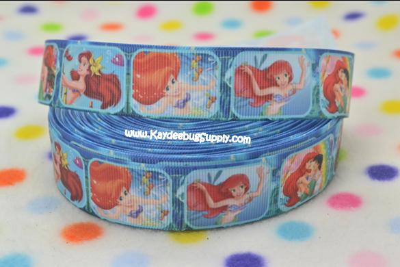 Princess Ariel - Little Mermaid - BLUE - 1 inch-little, mermaid, disney, ariel, princess, fish, princesses, fish, water,