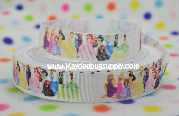 Disney Princesses and Toddlers - ALL on WHITE - 7/8 inch-cinderella, princess, princesses, disney, blue, dress, fairy, tale, fairytale, dancing, snow, white, tiana, ariel, pocahontas, mulan, jasmine, snow white, sofia, sophia, the, first, 1st, sofia the 1st, sofia the first, baby, babies, ribbon, merida, anna, elsa, rapunzel, cinderella, snow white,