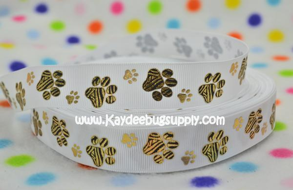 Paw Prints - Black & Gold on WHITE - 7/8 inch-paw, print, prints, animal, pet, dog, collar, metallic, tiger, tigers, grambling, mizzou, missouri, mutigers,