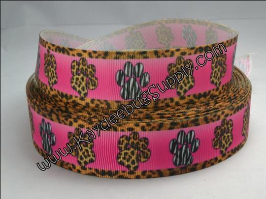 Paw Print - Pink & Leopard Print - 7/8 inch-paw, print, prints, school, go team, spirit, black, white, blue, yellow, zebra, animal, print, dog, collar, pink, bitch,