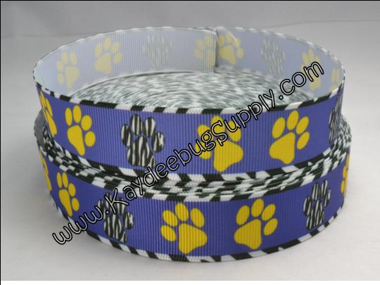 Paw Print - Blue, Yellow, Black White Zebra Print - 7/8 inch-paw, print, prints, school, go team, spirit, black, white, blue, yellow, zebra, animal, print,