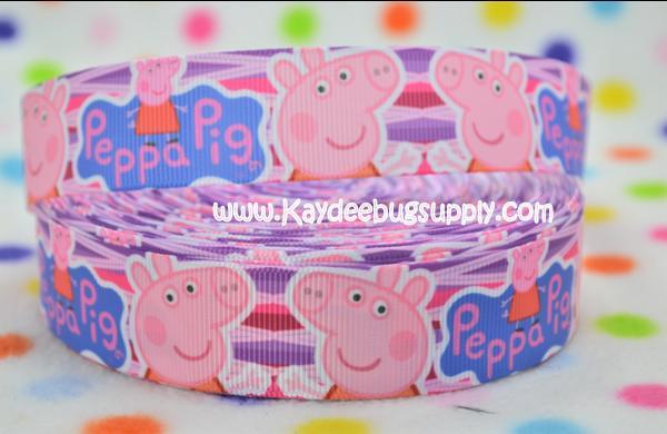 Peppa Pig - Pink Purple Blue - 1 inch-peppa, pig,