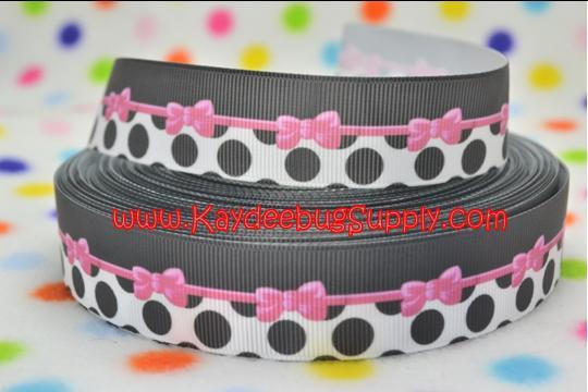 Pink Bows Black White Polka Dots - 1 inch-girl, girly, pink, bow, bows, dots, polka, black, white,