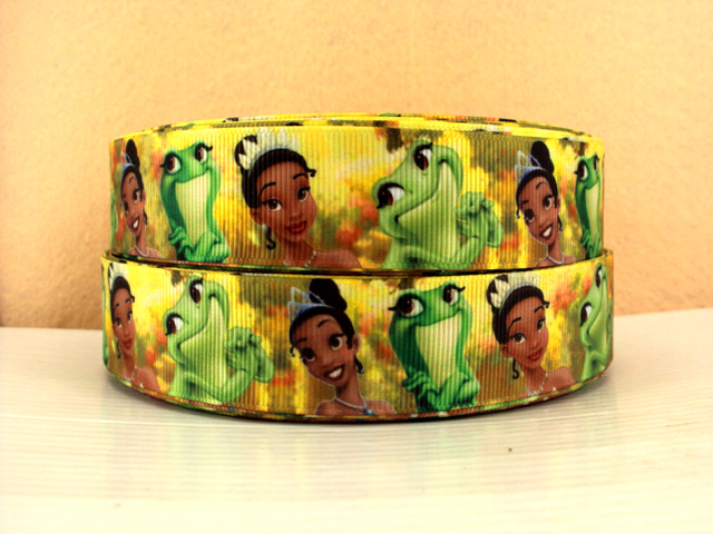 Princess Tiana & Frog - YELLOW - 1 inch-cinderella, princess, princesses, disney, blue, dress, fairy, tale, fairytale, glitter, dancing, snow, white, tiana, ariel, pocahontas, mulan, jasmine, snow white, sofia, sophia, the, first, 1st, sofia the 1st, sofia the first, frog, princess and the frog