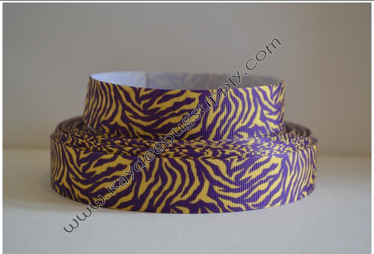 Tiger Stripe - Purple & Yellow Gold - 7/8 inch-basketball, basket, ball, balls, ribbon, red, black, NBA, team, sports, sports, teams, ribbon, LSU, louisiana, state, university, ECU, eastern, carolina, minnesota, vikings,