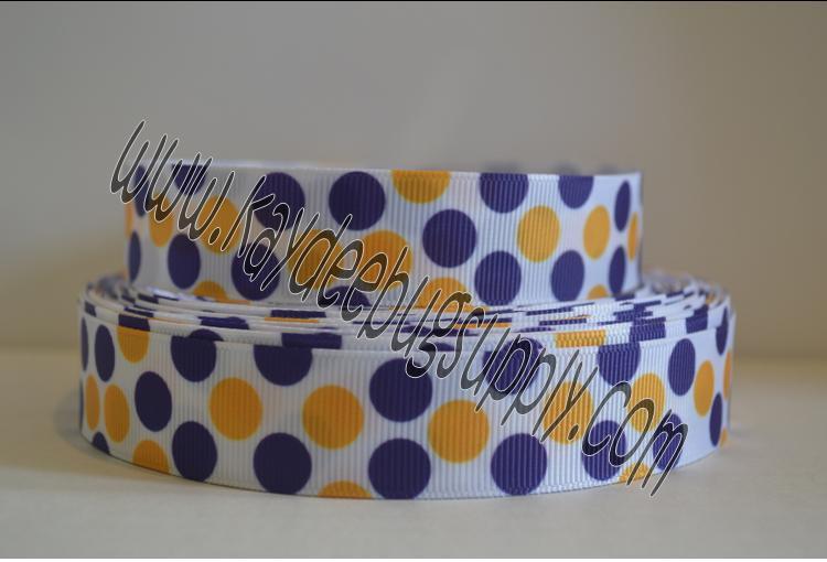 DOTS - Purple & Yellow Gold - 7/8 inch-basketball, basket, ball, balls, ribbon, red, black, NBA, team, sports, sports, teams, ribbon, LSU, louisiana, state, university, ECU, eastern, carolina, minnesota, vikings,