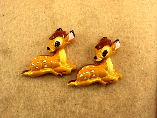 Bambi - Deer - Flatback Resin Cabochon-decoden, flatback, resin, flat, backs, resins, cabochons, cabochon, flatbacks, bow, center, centers, charm, pendant, pendants, charms, back, bambi, deer