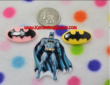 Batman - Pink, Yellow or Fullbody - Flatback Resin Cabochon-decoden, flatback, resin, flat, backs, resins, cabochons, cabochon, flatbacks, bow, center, centers, charm, pendant, pendants, charms, batman, surper, hero, superhero, bat, man,