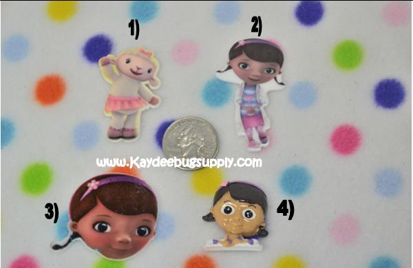 Doc McStuffins or Lambie - Flatback Resin Cabochon-decoden, flatback, resin, flat, backs, resins, cabochons, cabochon, flatbacks, bow, center, centers, charm, pendant, pendants, charms, doc, mcstuffin, mcstuffins, lambie, the doc is in, doc is in,