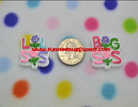 Big Sister or Little Sister - Flatback Resin Cabochon Decoden-sister, sis, girl, girly, pink, gree, flower, flowers, big, lil, little, mid, middle,  pet, collar, key, fob, Flatback, Resin, Cabochon, Bow, Centers, Appliques, Charms, Pendant, cabochons, flat, back, backs, flatbacks, center, resins