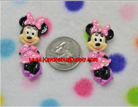 Minnie Mouse - Fullbody - Flatback Resin Cabochon-minnie, mouse, pink, decoden, flatback, resin, flat, backs, resins, cabochons, cabochon, flatbacks, bow, center, centers, charm, pendant, pendants, charms, back,