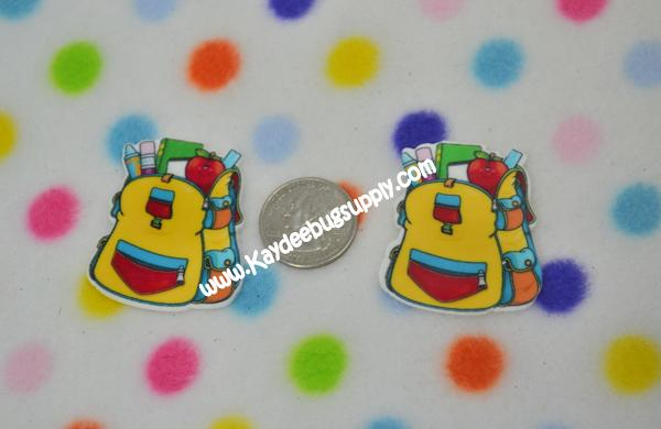 Backpack - Flatback Resin Cabochon-decoden, flatback, resin, flat, backs, resins, cabochons, cabochon, flatbacks, bow, center, centers, charm, pendant, pendants, charms, back, school, backpack, back to school, b2s,