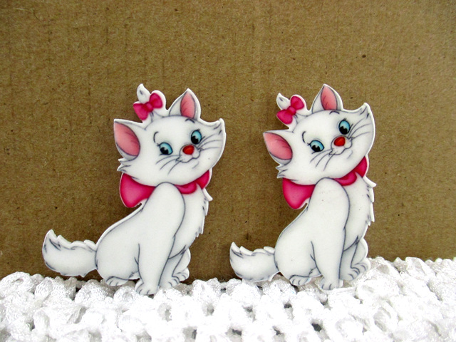 Marie Cat - Flatback Resin Cabochon Decoden-decoden, flatback, resin, flat, backs, resins, cabochons, cabochon, flatbacks, bow, center, centers, charm, pendant, pendants, charms, back, marie, cat, aristocat, aristocats, disney, movie,