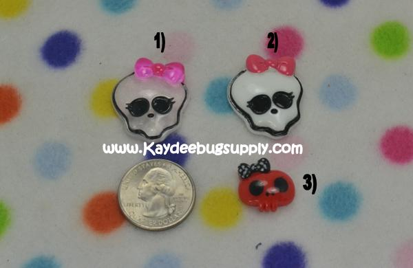 Monster High - Skulls - Flatback Resin-monster, high, scaris, school, zombie, skull, skulls, clawdeen, wolf, clawdeenwolf, claudia, decoden, flatback, resin, flat, backs, resins, cabochons, cabochon, flatbacks, bow, center, centers, charm, pendant, pendants, charms, back, red, pink, glitter, rockabillly, punk,