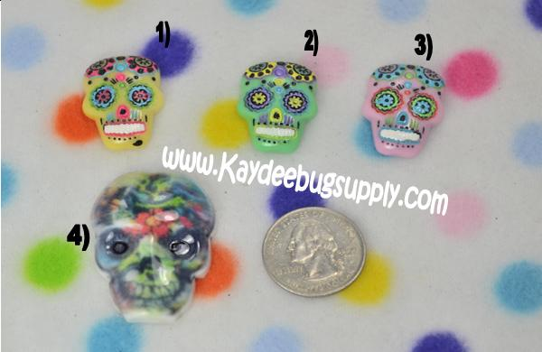 Sugar Skulls - Pink Green Yellow - Flatback Resin Cabochon-decoden, flatback, resin, flat, backs, resins, cabochons, cabochon, flatbacks, bow, center, centers, charm, pendant, pendants, charms, back, day of the dead, sugar, skull, skulls, punk, goth, rock, calavera, dia de los muertos, mexican, muertos, calaveras