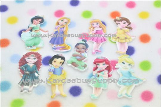 Toddler Princesses - Flatback Resin Cabochon-toddler, princess, princesses, snow, white, cinderella, belle, aurora, rapunzel, ariel, decoden, flatback, resin, flat, backs, resins, cabochons, cabochon, flatbacks, bow, center, centers, charm, pendant, pendants, charms, back,