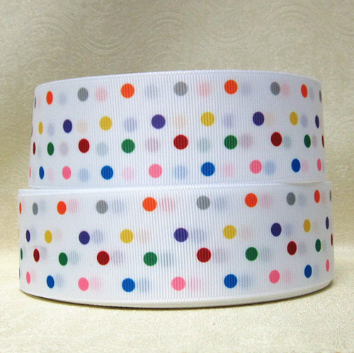 DOTS - Rainbow Multicolor Small Dots - White Background - 1 inch-nickelodeon, team, umizoomi, rainbow, multicolor, dots, dot, skittles
