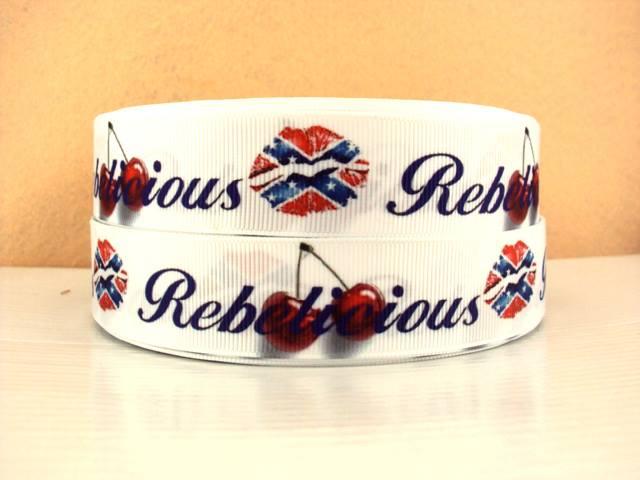 Rebel - Rebellious - Cherries - WHITE - 1 inch-back, road, roads, rebellious, cherries, country, texas, red, neck, yankee, , ribbon, rebel, heart, flag, stars, lip, lips, kiss,