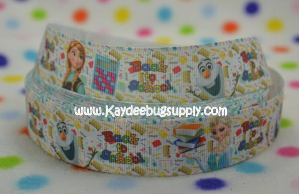 Back to School - Anna Elsa & Olaf - 1 inch-snow, winter, ribbon, movie, frozen, disney, movie, ribbon, anna, elsa, olaf, ABC, ABCs, Back, school, love, back to school,