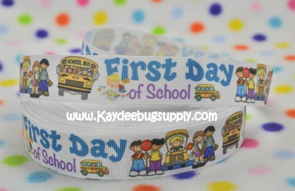 First Day of School - 7/8 inch-first, day, first day of school, 1st, ABC, ABCs, Back, school, love, back to school, bus