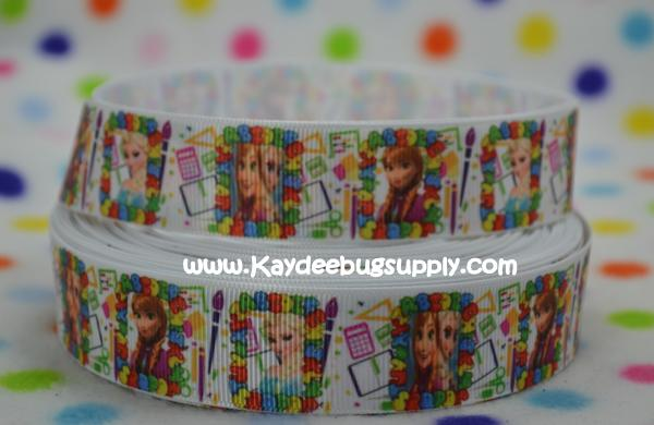 Back to School - Anna Elsa ABCs - 1 inch-snow, winter, ribbon, movie, frozen, disney, movie, ribbon, anna, elsa, ABC, ABCs, Back, school, love, back to school,
