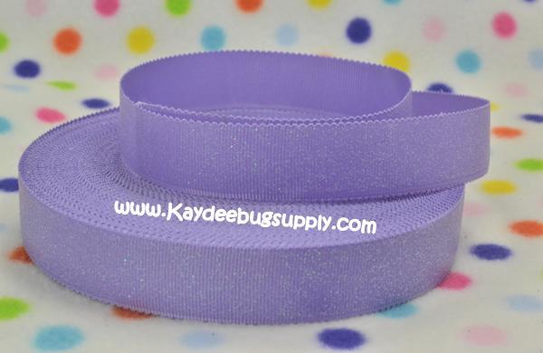 SOLID Purple Glitter Scalloped Edge - 7/8 inch-solid, purple, light, lavender, glitter, scallop, scalloped, edge, wave,